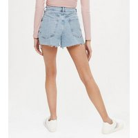 Petite Pale Blue Denim Extreme Ripped Mom Shorts New Look