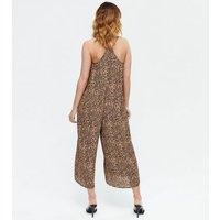 Petite Brown Leopard Print Crop Jumpsuit New Look