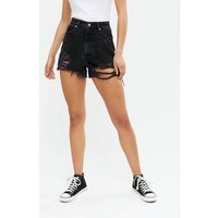 Tall Black Denim Extreme Ripped Mom Shorts New Look
