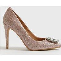 Rose Gold Gem Embellished Stiletto Heel Court Shoes New Look