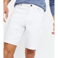 Men's White Denim Relaxed Fit Shorts New Look
