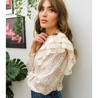 Urban Bliss White Spot Shirred Tiered Sleeve Blouse New Look