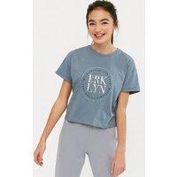 Girls Blue BRKLYN Metallic Logo T-Shirt New Look