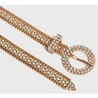 Gold Diamante Skinny Belt New Look