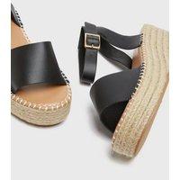 Wide Fit Black Espadrille Flatform Sandals New Look