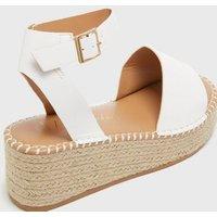 Wide Fit White Espadrille Flatform Sandals New Look