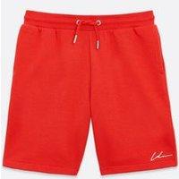 Boys Red Drawstring Jersey Shorts New Look