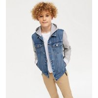 Boys Blue Denim 2 in 1 Hooded Jacket New Look