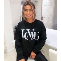 AX Paris Black Logo Love Sweatshirt New Look