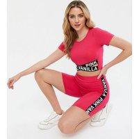 Pink Vanilla Deep Pink Logo Crop Top New Look