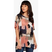 Apricot Coral Knit Brushstroke Oversized Top New Look