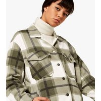 Apricot Olive Check Shacket New Look