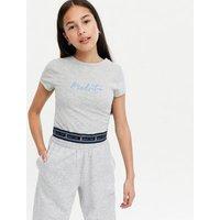 Girls Grey Manhattan Logo T-Shirt and Joggers Set New Look