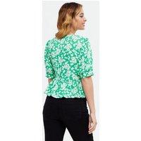 Petite Green Floral Peplum Blouse New Look