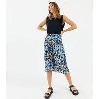 Zibi London Blue Leopard Print Midi Skirt New Look