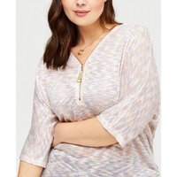 Blue Vanilla Curves White Speckle Zip Knit Top New Look