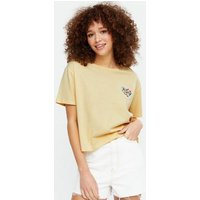 Pale Yellow Floral Embroidered Heart T-Shirt New Look