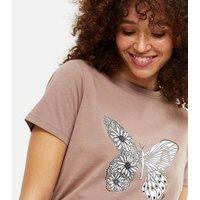 Light Brown Floral Butterfly Logo T-Shirt New Look