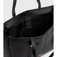 Black Leather-Look Tassel Laptop Bag New Look
