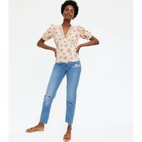 Off White Ditsy Floral Lace Trim Top New Look