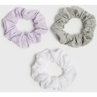 3 Pack Lilac Grey and White Ribbed Scrunchies New Look