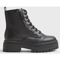 Black Zip Side Lace Up Chunky Boots New Look
