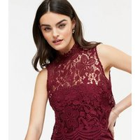 Chi Chi London Burgundy Lace Jumpsuit New Look