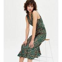 Gini London Green Leopard Print Ruffle Hem Midi Dress New Look