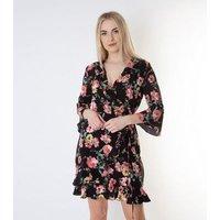 Gini London Black Floral Ruffle Trim Wrap Dress New Look