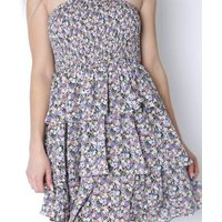 Gini London Purple Floral Tiered Bandeau Dress New Look