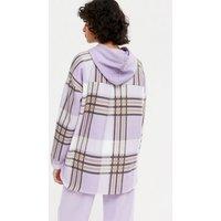 Blue Vanilla Lilac Check Fleece Panel Hoodie New Look