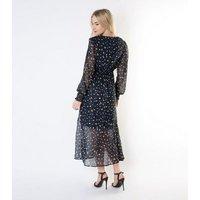 Gini London Navy Leopard Print Chiffon Midi Wrap Dress New Look