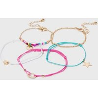 Girls 5 Pack Multicoloured Charm Friendship Bracelets New Look