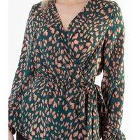 Gini London Green Leopard Print Wrap Blouse New Look