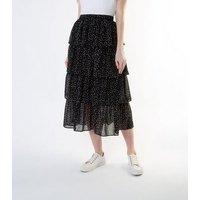 Gini London Black Spot Tiered Midaxi Skirt New Look