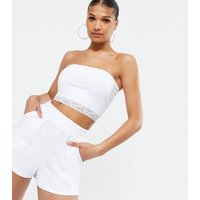 White Lace Trim Bandeau Top New Look