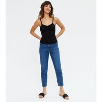 Black Ribbed Button Front Frill Cami New Look