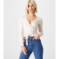 Urban Bliss Off White Ribbed Knit Wrap Cardigan New Look