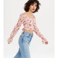 NA-KD Pink Floral Ruched Crop Blouse New Look
