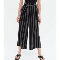 Black Stripe Belted Crop Trousers New Look