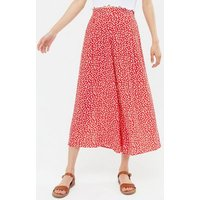 Red Ditsy Floral Wide Leg Crop Trousers New Look