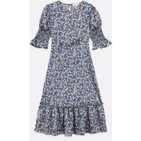 Zibi London Blue Floral Satin Puff Sleeve Midi Dress New Look