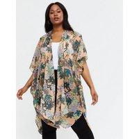 Vero Moda Curves Coral Tropical Kimono New Look
