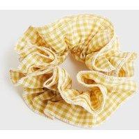 Yellow Gingham Ruffle Scrunchie New Look