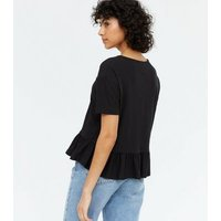 Black Textured Peplum Boxy T-Shirt New Look