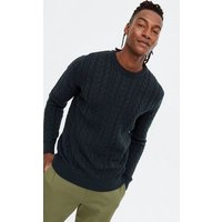 Men's Navy Cable Knit Crew Jumper New Look