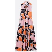 Zibi London Pale Pink Satin Abstract Print Maxi Dress New Look