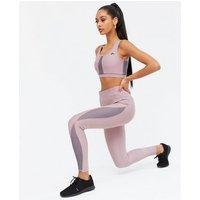 ONLY PLAY Dark Purple Mesh Panel Sports Leggings New Look