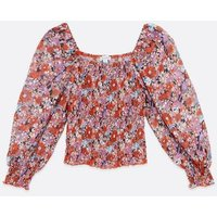 Zibi London Red Floral Chiffon Square Neck Blouse New Look