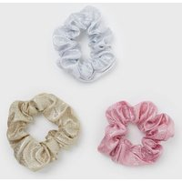 Little Mistress 3 Pack Silver Gold and Pink Glitter Scrunchies New Look